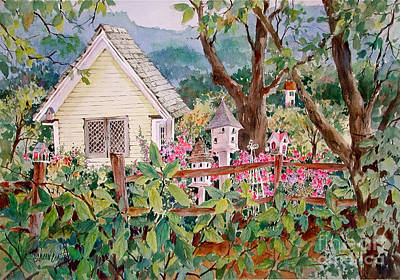The Yellow Potting Shed Print by Sherri Crabtree