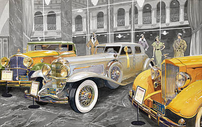 Classic Car Painting - The Yellow Ribbon by Mike Hill