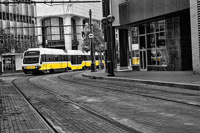 The Yellow Train Of Dallas Art Print by Kathy Churchman