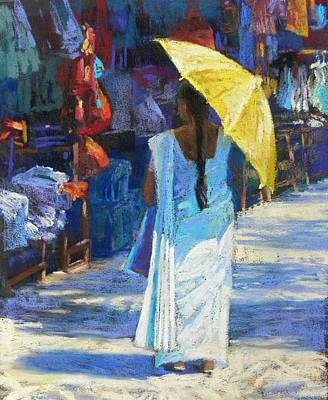 Painting - The Yellow Umbrella by Jackie Simmonds