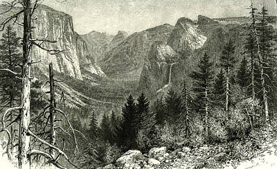 Yosemite Drawing - The Yosemite Valley From Artist Point New York 1891 Usa by American School