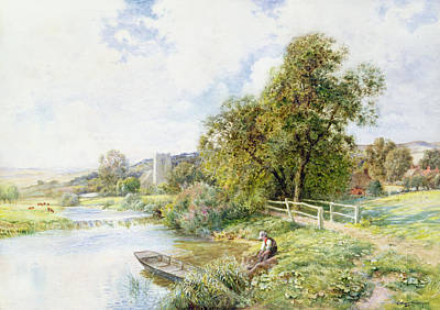 Angling Painting - The Young Angler by Arthur Claude Strachan