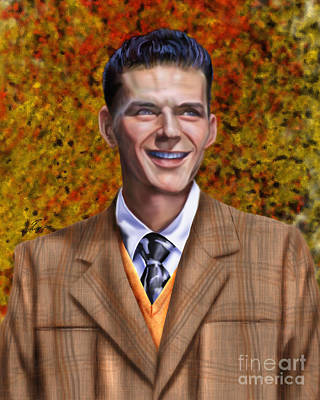 Rat Pack Painting - The Young Chairman - Sinatra by Reggie Duffie