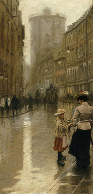 Drizzle Painting - The Young Flower Vendor by Paul Fischer