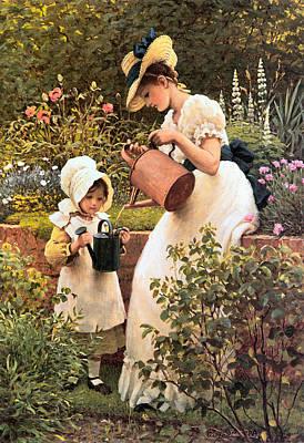 Little Girl Digital Art - The Young Gardener 1889 by George Dunlop Leslie
