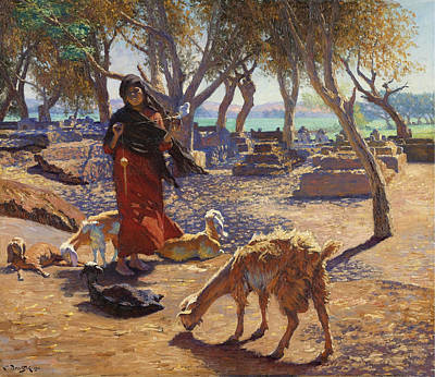 Painting - The Young Goat Herder Of Shobrah Egypt by Ludwig Deutsch