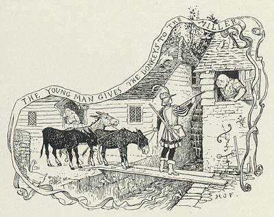 Cabbage Drawing - The Young Man Gives The  Donkeys by Mary Evans Picture Library