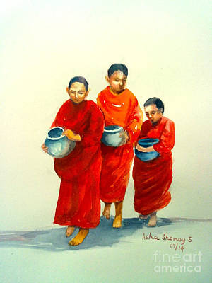 Painting - The Young Monks by Asha Sudhaker Shenoy