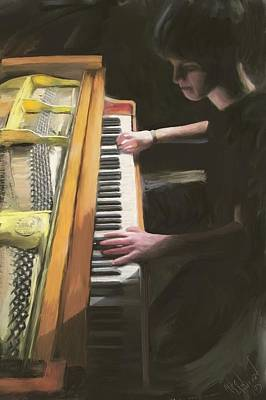 Digital Art - The Young Pianist by Michael Malicoat