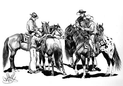 Working Cowboy Drawing - The Youngster by Cheryl Poland