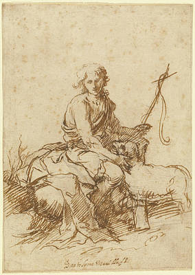 The Youthful Saint John The Baptist Seated In A Landscape Art Print by Litz Collection