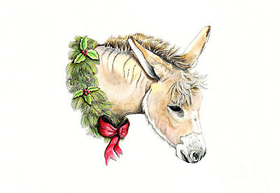 Painting - The Yule Donkey by Shari Nees