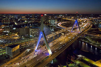 Photograph - The Zakim Bridge At Night. by Dave Cleaveland