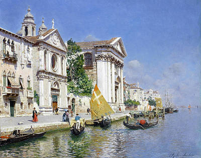 Rubens Santoro Painting - The Zattera And Church Of The Jesuate. Venice by Rubens Santoro