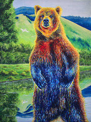 Grizzly Bear Painting - The Zookeeper - Special Missoula Montana Edition by Teshia Art