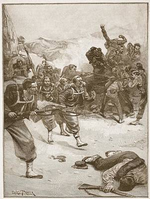 Papal Drawing - The Zouaves Took One Of The Barricades by Ernest Prater