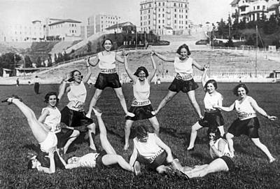 Theater Girls Doing Exercises Art Print by Underwood Archives
