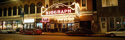 Theater Lit Up At Night, Biograph Art Print by Panoramic Images