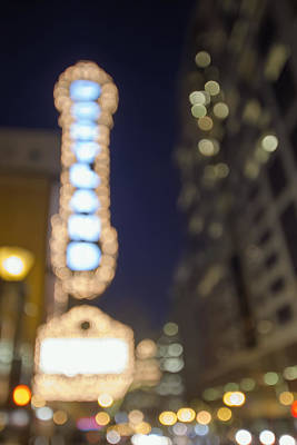 Theater Marquee Lights On Broadway Bokeh Background Art Print