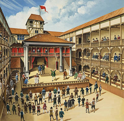 Theatre With Performance Of Hamlet Gouache On Paper Print by English School