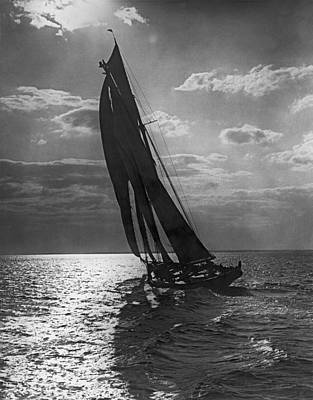 Historic Schooner Photograph - Thebaud Setting Out To Sea by Underwood Archives