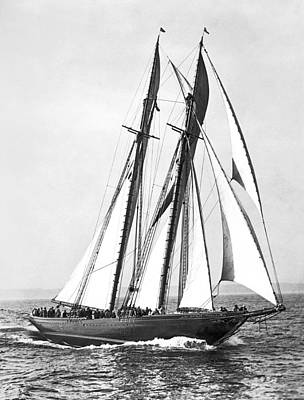 Sailboat Photograph - Thebaud Under Full Sail by Underwood Archives