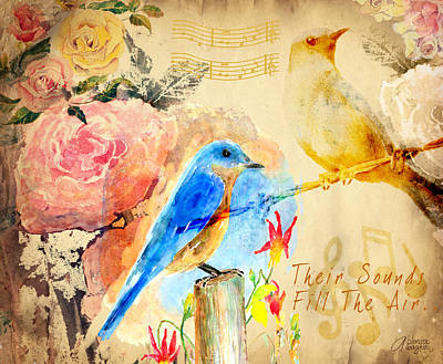 Robin Mixed Media - Their Sounds Fill The Air by Arline Wagner