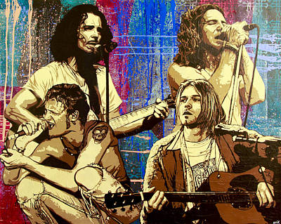 Pearl Jam Painting - Them Bones Are Louder Than Love In A Corduroy Heart-shaped Box by Bobby Zeik
