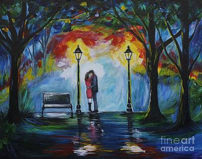 Nightime Painting - Then He Kissed Me by Leslie Allen