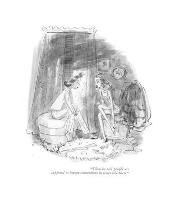Tradition Drawing - Then He Said People Are Supposed To Forget by Barbara Shermund