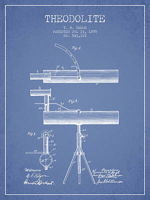 Telescope Digital Art - Theodolite Patent From 1895 - Light Blue by Aged Pixel