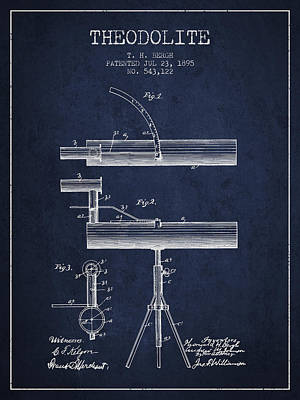 Telescope Digital Art - Theodolite Patent From 1895 - Navy Blue by Aged Pixel
