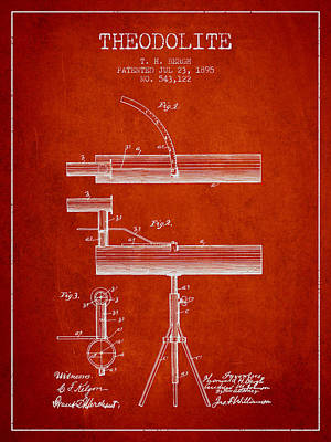 Telescope Digital Art - Theodolite Patent From 1895 - Red by Aged Pixel