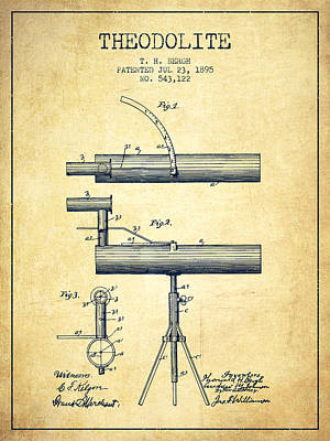 Telescope Digital Art - Theodolite Patent From 1895 - Vintage by Aged Pixel
