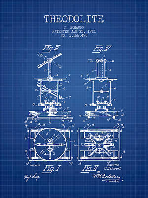 Telescope Digital Art - Theodolite Patent From 1921- Blueprint by Aged Pixel