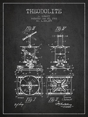 Theodolite Patent From 1921- Charcoal Art Print