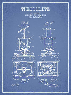 Surveying Drawing - Theodolite Patent From 1921- Light Blue by Aged Pixel