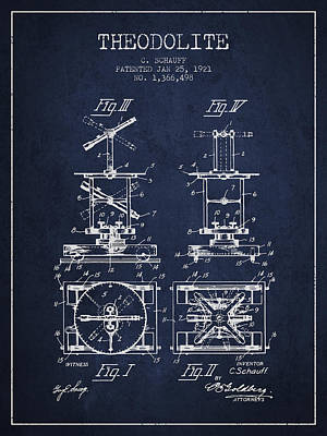 Surveying Drawing - Theodolite Patent From 1921- Navy Blue by Aged Pixel