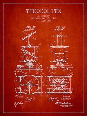 Surveying Drawing - Theodolite Patent From 1921- Red by Aged Pixel