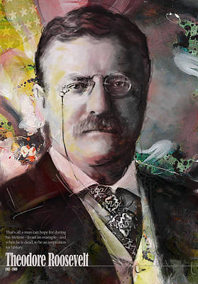 Landmarks Painting Royalty Free Images - Theodore Roosevelt Royalty-Free Image by Corporate Art Task Force