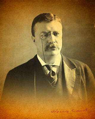 Photograph - Theodore Teddy Roosevelt Portrait And Signature by Design Turnpike