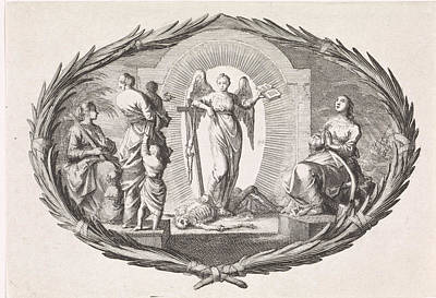 Theological Virtues And An Angel, Jan Luyken Art Print by Quint Lox