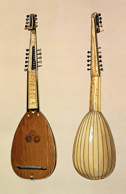 Lute Drawing - Theorbo, Made By Giovanni Krebar by Alfred James Hipkins
