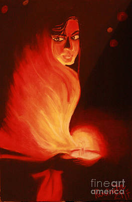 Candel Painting - There Always A Light In  The Dark by Parinita Dhawan