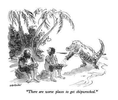 Alligator Drawing - There Are Worse Places To Get Shipwrecked by James Stevenson