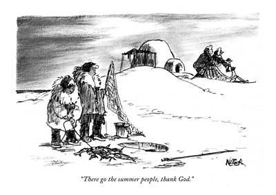 Igloo Drawing - There Go The Summer People by Robert Weber