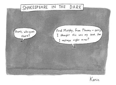 Theater Drawing - There Is A Dark Scene With Two Word Bubbles by Zachary Kanin