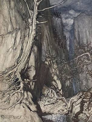 Cavern Drawing - There Is A Dread Dragon He Sojourns by Arthur Rackham