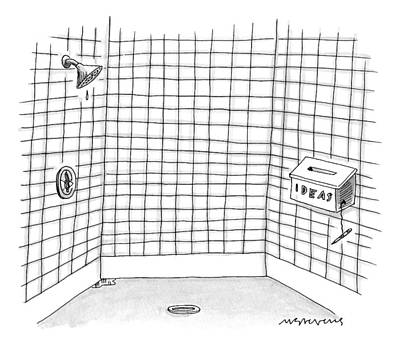 Box Drawing - There Is An Idea Box In The Shower by Mick Stevens