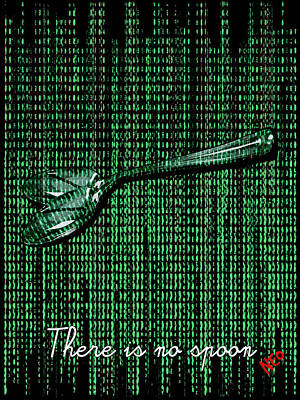Matrix Code Digital Art - There Is No Spoon by Filippo B